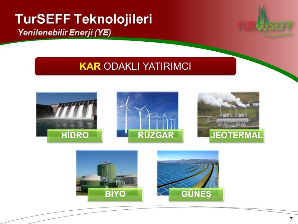 HİDRORÜZGARJEOTERMAL BİYOGÜNEŞ 7 TurSEFF Teknolojileri Yenilenebilir Enerji (YE) KAR ODAKLI YATIRIMCI