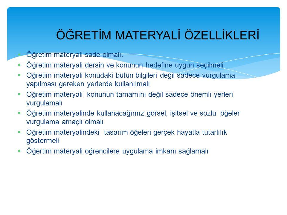 1-) Öğretim Hedefleri 3-) Öğrenci Özellikleri 5-) Öğretim Ortamının Özellikleri Öğretim Materyallerinin Seçimini Etkileyen Faktörler 2-) Öğretim Yöntemi 4-) Öğretmen Özellikleri 6-) Materyal Özellikleri