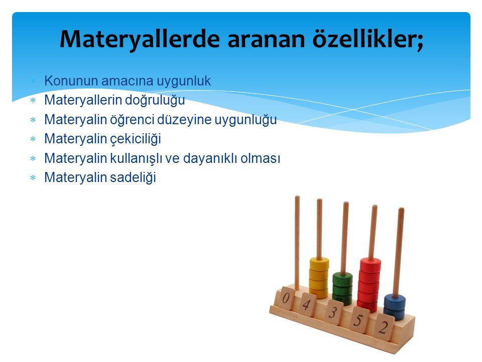  Konunun amacına uygunluk  Materyallerin doğruluğu  Materyalin öğrenci düzeyine uygunluğu  Materyalin çekiciliği  Materyalin kullanışlı ve dayanıklı olması  Materyalin sadeliği Materyallerde aranan özellikler;