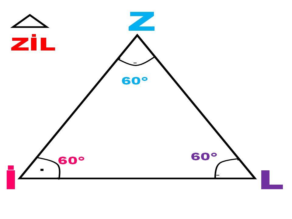 KENARLARINA GÖRE ÜÇGENLER Üçgenler kenarlarına göre 3'e ayrılır. 1. Eşkenar üçgen: Tüm kenar uzunlukları aynı olan üçgenlerdir. ° Bu üçgenlerin iç açı