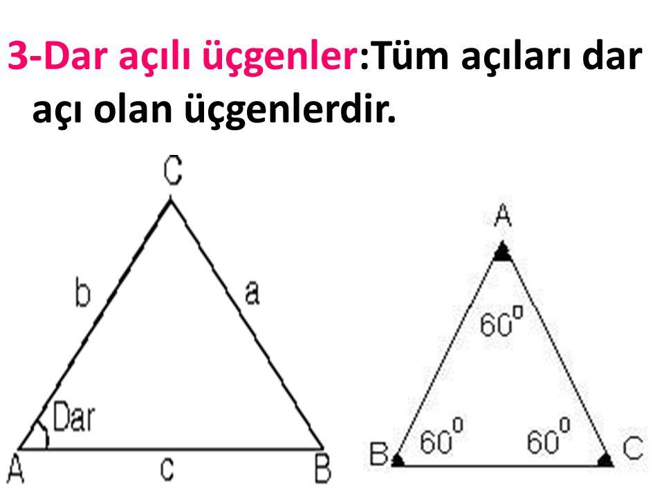2-Geniş açılı üçgenler: Bir açısı geniş açı olan üçgenlerdir.