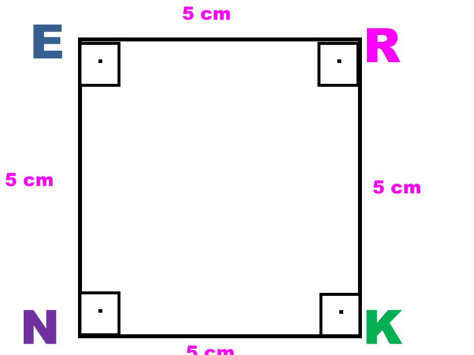 Kenarları sembolle [ ] içinde gösterilir. Kenar uzunlukları ise sembolle | | içinde gösterilir. Karenin 4 dik açısı (90°) olup iç açıları toplamı 360