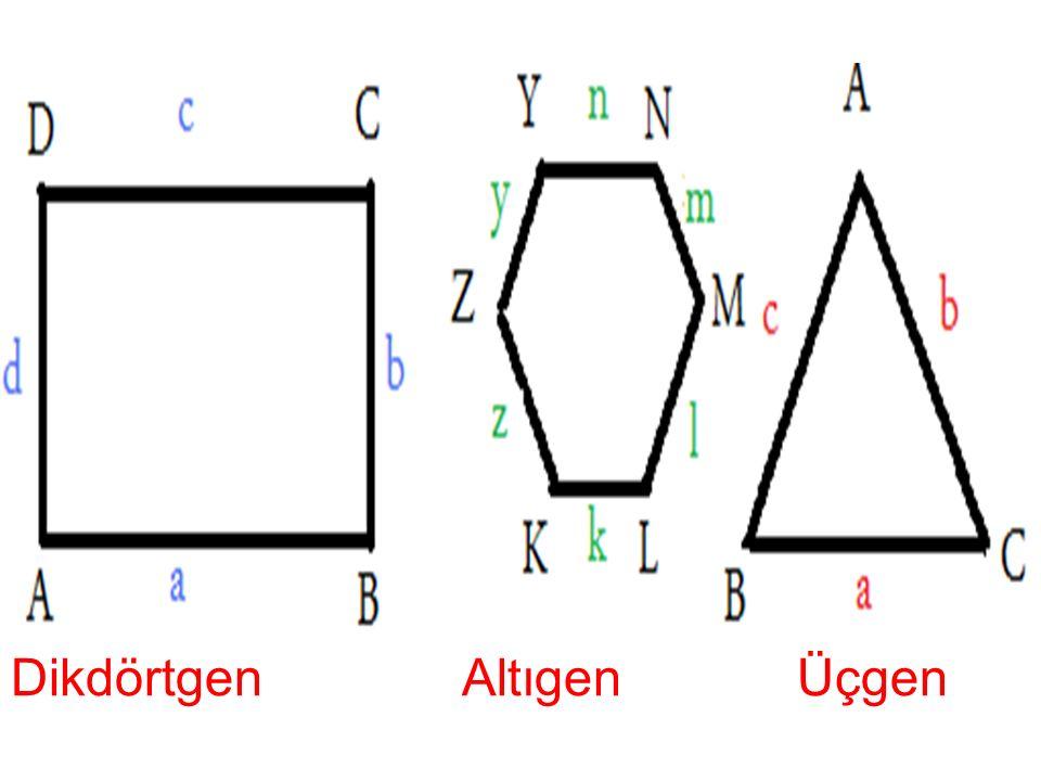 --- Çokgenlerin köşeleri büyük harflerle gösterilir. Kenarları ise köşedeki harfin küçüğü yazılarak adlandırılır. Sadece üçgende kenar adını karşısınd