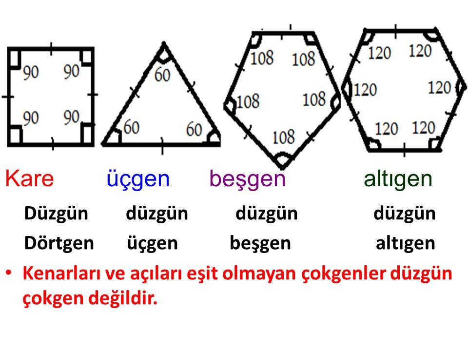 DÜZGÜN ÇOKGEN: Açılarının ölçüleri ile kenarlarının ölçüleri eşit olan çokgenlere düzgün çokgen denir.