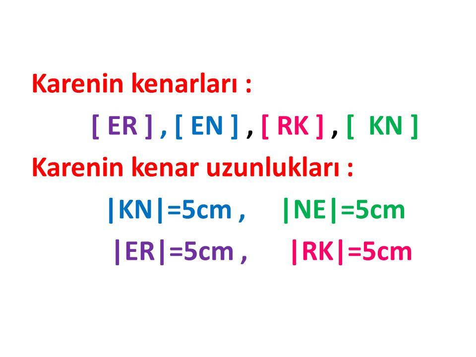 Karenin Adı: ERKN,RKNE, NERK,KNER Karenin Açıları: ° ° s ( <R ) = 90 °, s ( <E ) = 90 ° ° ° s ( <K ) = 90°, s ( <N ) = 90 ° Karenin Köşegeni: [ EK ],