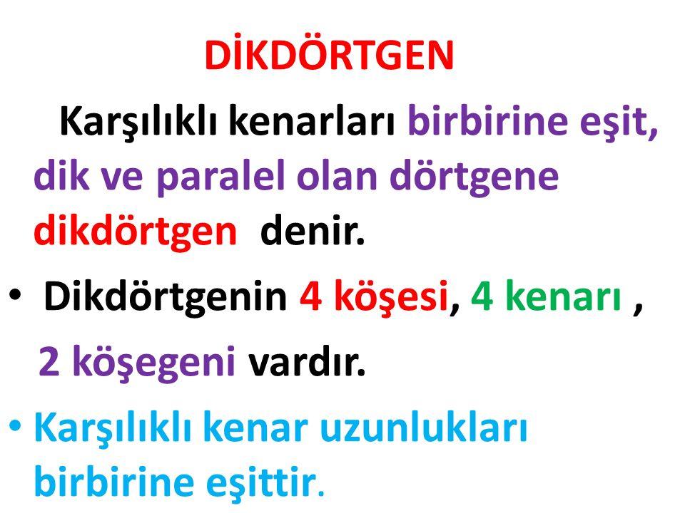 Karenin kenarları : [ ER ], [ EN ], [ RK ], [ KN ] Karenin kenar uzunlukları : |KN|=5cm, |NE|=5cm |ER|=5cm, |RK|=5cm