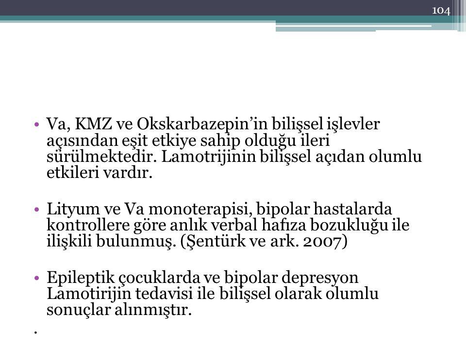 Va, KMZ ve Okskarbazepin'in bilişsel işlevler açısından eşit etkiye sahip olduğu ileri sürülmektedir. Lamotrijinin bilişsel açıdan olumlu etkileri var