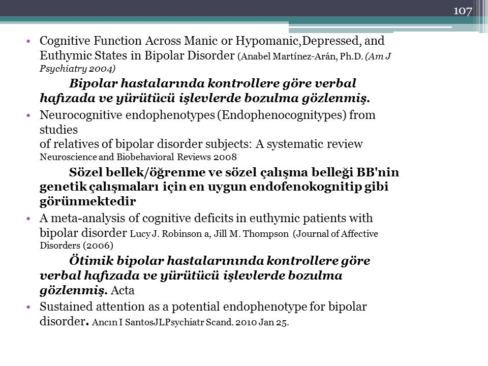 107 Cognitive Function Across Manic or Hypomanic,Depressed, and Euthymic States in Bipolar Disorder (Anabel Martínez-Arán, Ph.D. (Am J Psychiatry 2004