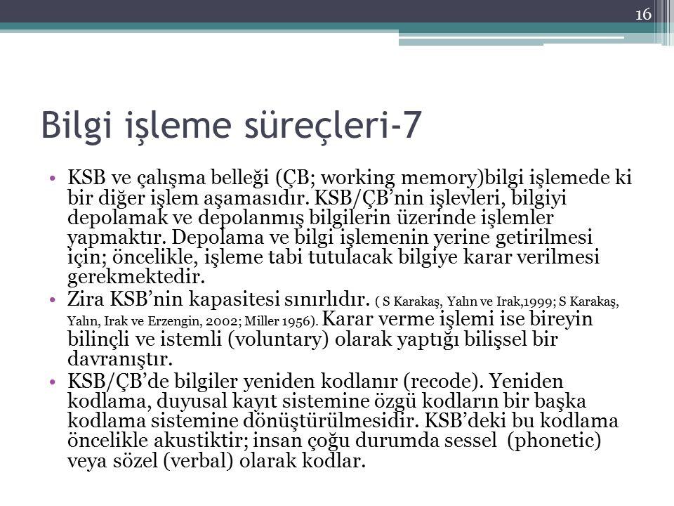 Bilgi işleme süreçleri-7 KSB ve çalışma belleği (ÇB; working memory)bilgi işlemede ki bir diğer işlem aşamasıdır. KSB/ÇB'nin işlevleri, bilgiyi depola