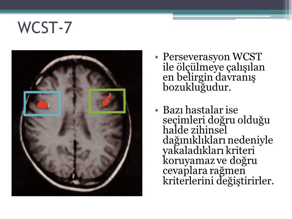 WCST-7 Perseverasyon WCST ile ölçülmeye çalışılan en belirgin davranış bozukluğudur. Bazı hastalar ise seçimleri doğru olduğu halde zihinsel dağınıklı