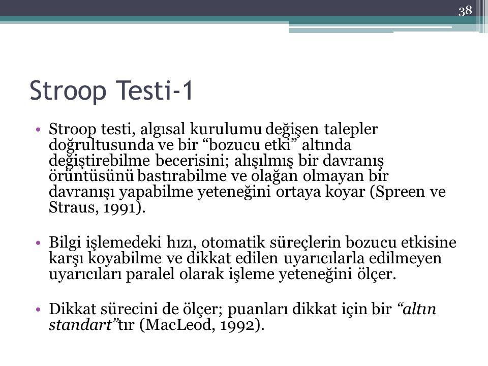 """Stroop Testi-1 Stroop testi, algısal kurulumu değişen talepler doğrultusunda ve bir """"bozucu etki"""" altında değiştirebilme becerisini; alışılmış bir dav"""