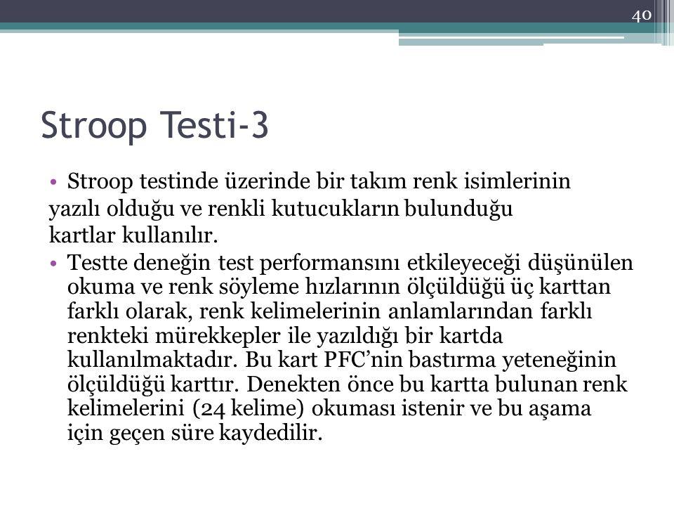 Stroop Testi-3 Stroop testinde üzerinde bir takım renk isimlerinin yazılı olduğu ve renkli kutucukların bulunduğu kartlar kullanılır. Testte deneğin t