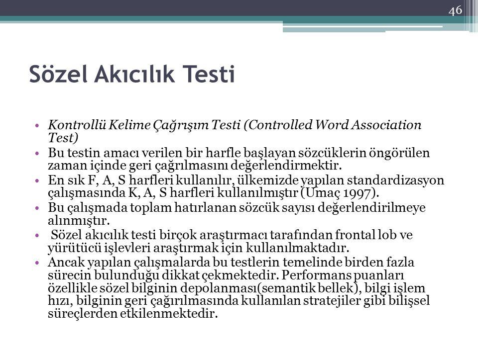 Sözel Akıcılık Testi Kontrollü Kelime Çağrışım Testi (Controlled Word Association Test) Bu testin amacı verilen bir harfle başlayan sözcüklerin öngörü