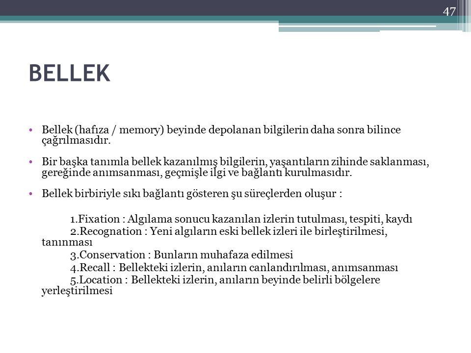 BELLEK Bellek (hafıza / memory) beyinde depolanan bilgilerin daha sonra bilince çağrılmasıdır. Bir başka tanımla bellek kazanılmış bilgilerin, yaşantı