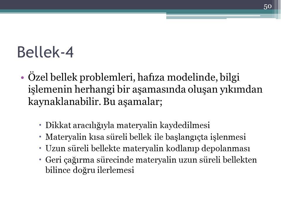 Bellek-4 Özel bellek problemleri, hafıza modelinde, bilgi işlemenin herhangi bir aşamasında oluşan yıkımdan kaynaklanabilir. Bu aşamalar;  Dikkat ara