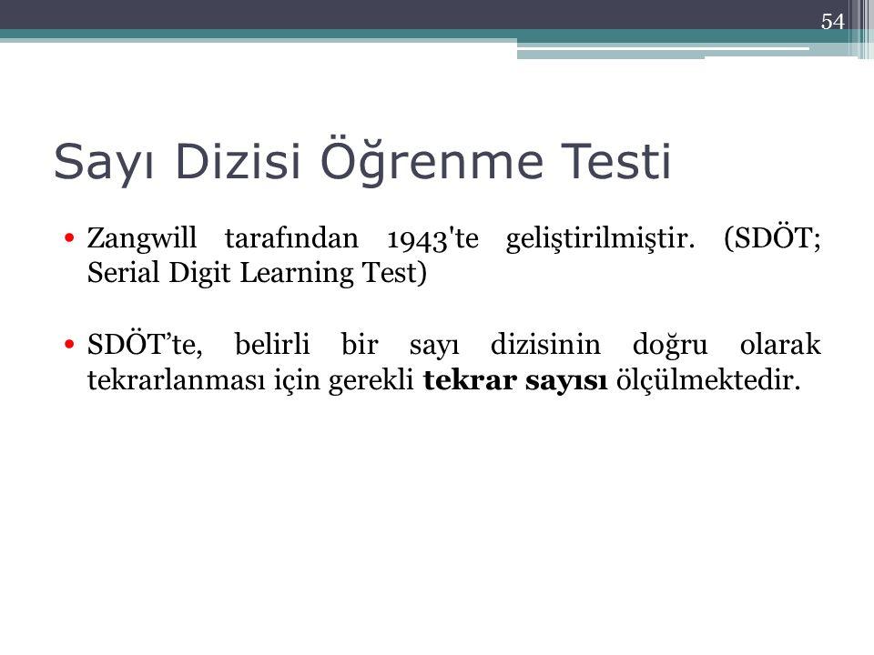 Sayı Dizisi Öğrenme Testi Zangwill tarafından 1943'te geliştirilmiştir. (SDÖT; Serial Digit Learning Test) SDÖT'te, belirli bir sayı dizisinin doğru o