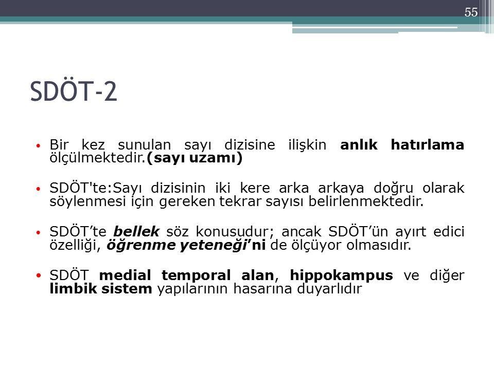 SDÖT-2 Bir kez sunulan sayı dizisine ilişkin anlık hatırlama ölçülmektedir.(sayı uzamı) SDÖT'te:Sayı dizisinin iki kere arka arkaya doğru olarak söyle