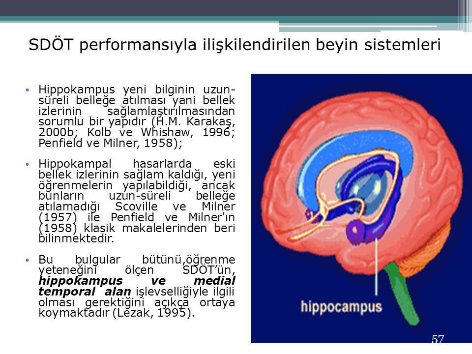 SDÖT performansıyla ilişkilendirilen beyin sistemleri Hippokampus yeni bilginin uzun- süreli belleğe atılması yani bellek izlerinin sağlamlaştırılması