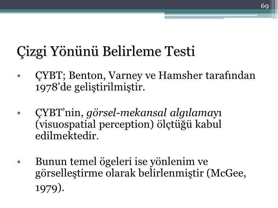 Çizgi Yönünü Belirleme Testi ÇYBT; Benton, Varney ve Hamsher tarafından 1978'de geliştirilmiştir. ÇYBT'nin, görsel-mekansal algılamayı (visuospatial p