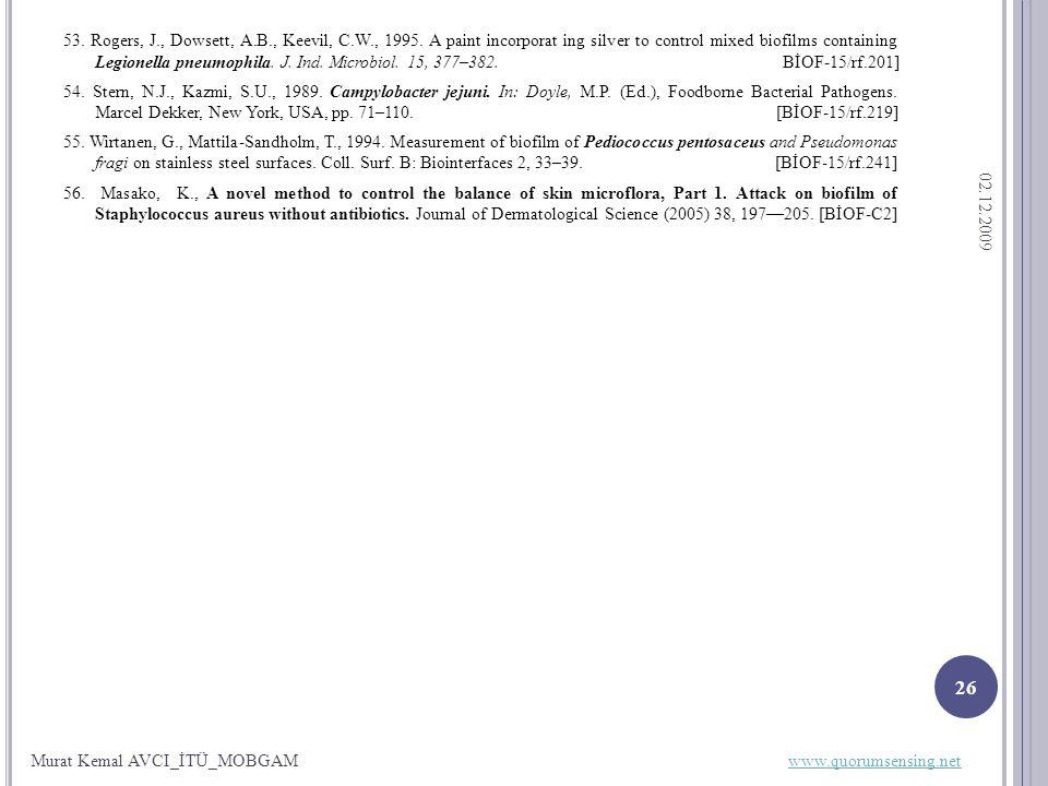 53. Rogers, J., Dowsett, A.B., Keevil, C.W., 1995.