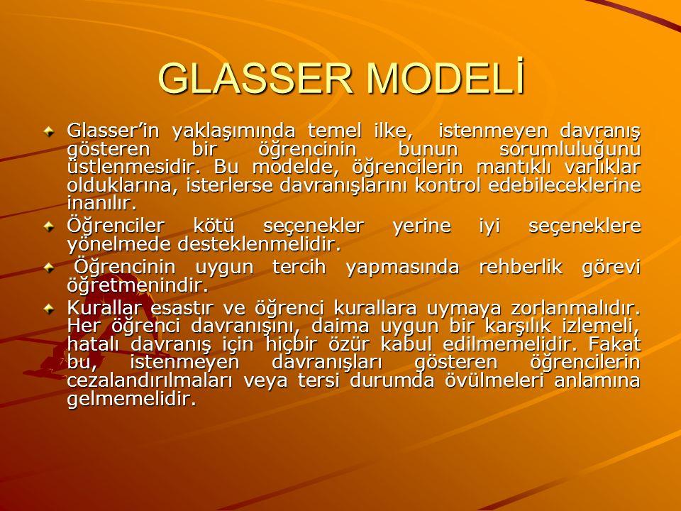 GLASSER MODELİ Glasser'in yaklaşımında temel ilke, istenmeyen davranış gösteren bir öğrencinin bunun sorumluluğunu üstlenmesidir. Bu modelde, öğrencil