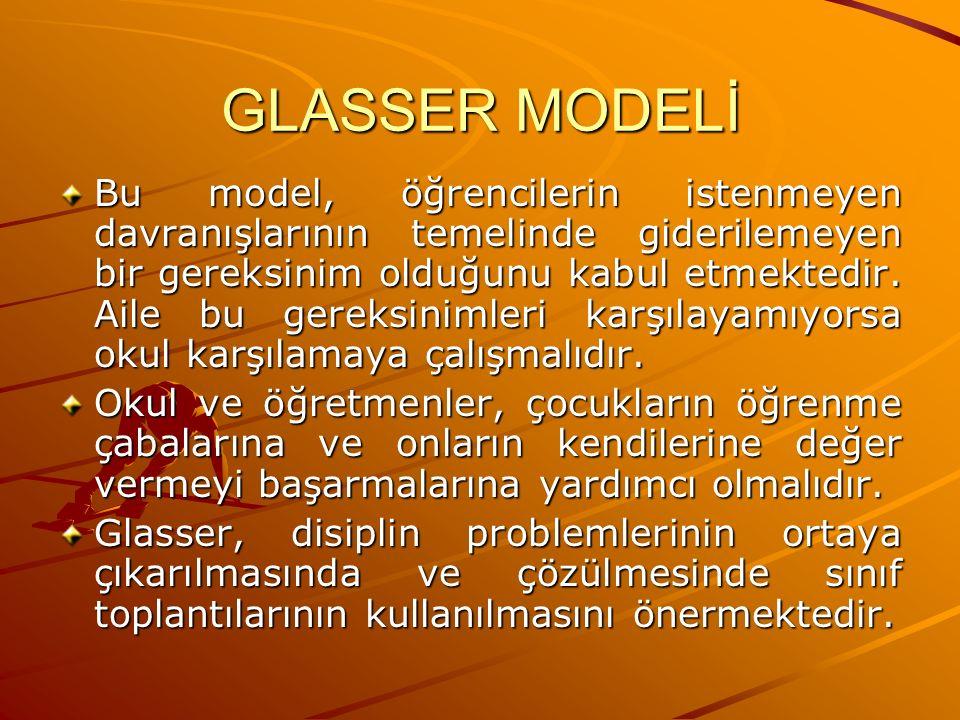 GLASSER MODELİ Bu model, öğrencilerin istenmeyen davranışlarının temelinde giderilemeyen bir gereksinim olduğunu kabul etmektedir. Aile bu gereksiniml