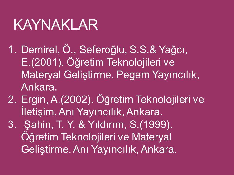 KAYNAKLAR 1.Demirel, Ö., Seferoğlu, S.S.& Yağcı, E.(2001).