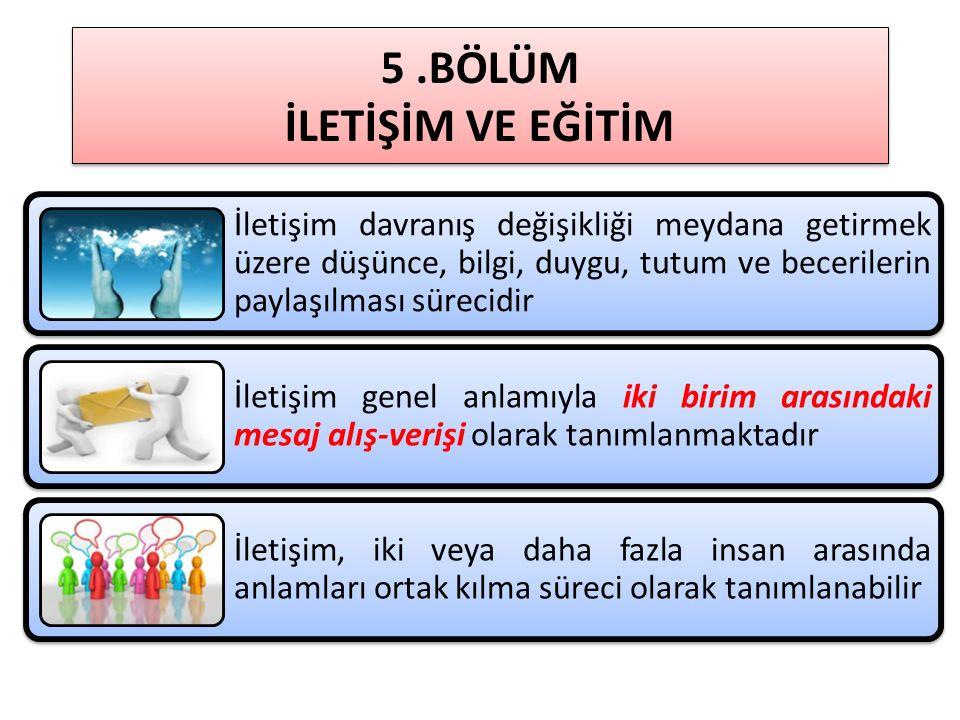 5.BÖLÜM İLETİŞİM VE EĞİTİM Ahmet ATAÇ- Cihan ÇAKMAK – Gülenaz SELÇUK – İhsan YILMAZ