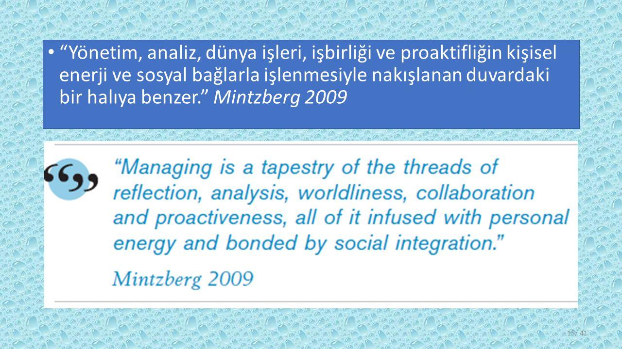 Yönetim, analiz, dünya işleri, işbirliği ve proaktifliğin kişisel enerji ve sosyal bağlarla işlenmesiyle nakışlanan duvardaki bir halıya benzer. Mintzberg 2009 / 4115