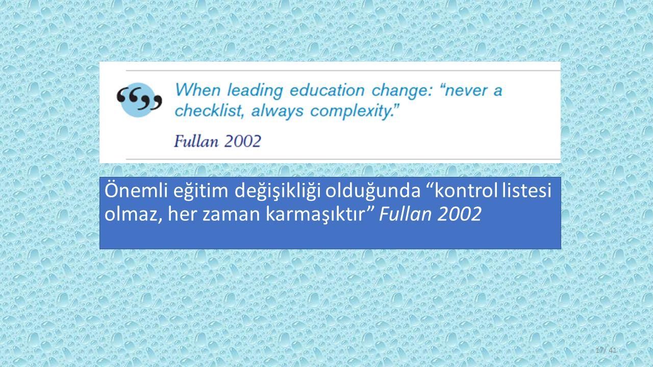 Önemli eğitim değişikliği olduğunda kontrol listesi olmaz, her zaman karmaşıktır Fullan 2002 / 4117