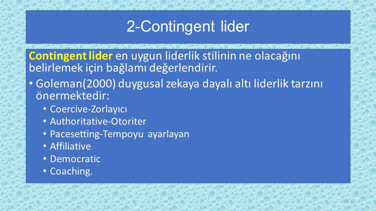 2-Contingent lider Contingent lider en uygun liderlik stilinin ne olacağını belirlemek için bağlamı değerlendirir.