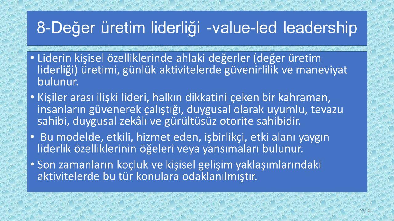 8-Değer üretim liderliği -value-led leadership Liderin kişisel özelliklerinde ahlaki değerler (değer üretim liderliği) üretimi, günlük aktivitelerde güvenirlilik ve maneviyat bulunur.