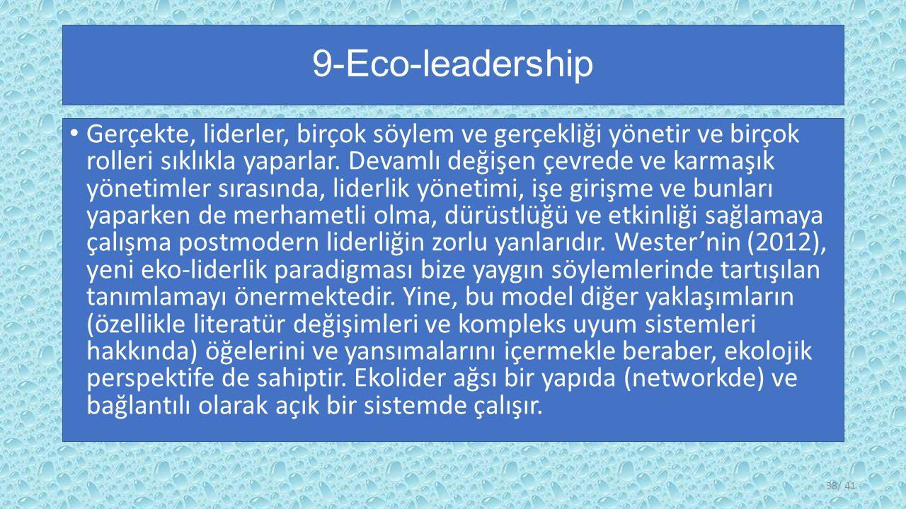 9-Eco-leadership Gerçekte, liderler, birçok söylem ve gerçekliği yönetir ve birçok rolleri sıklıkla yaparlar.