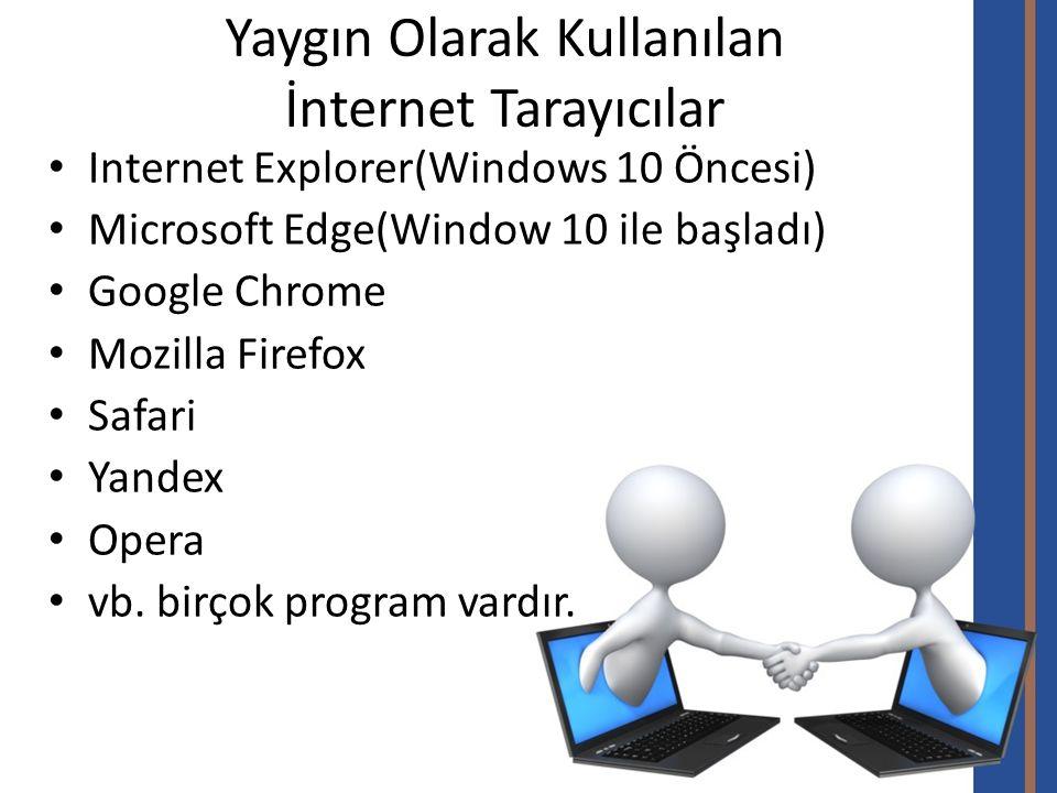 Yaygın Olarak Kullanılan İnternet Tarayıcılar Internet Explorer(Windows 10 Öncesi) Microsoft Edge(Window 10 ile başladı) Google Chrome Mozilla Firefox Safari Yandex Opera vb.