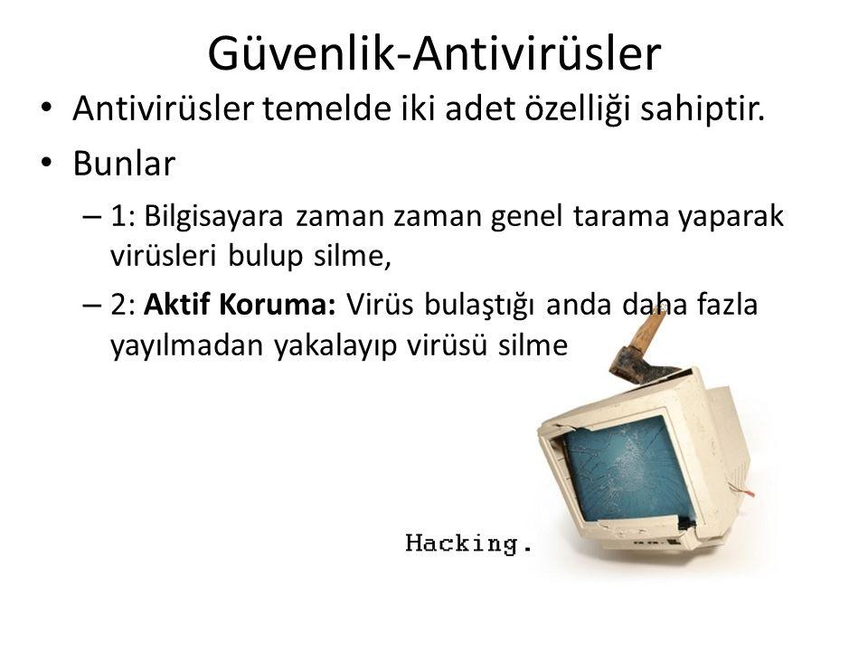Güvenlik-Antivirüsler Antivirüsler temelde iki adet özelliği sahiptir.