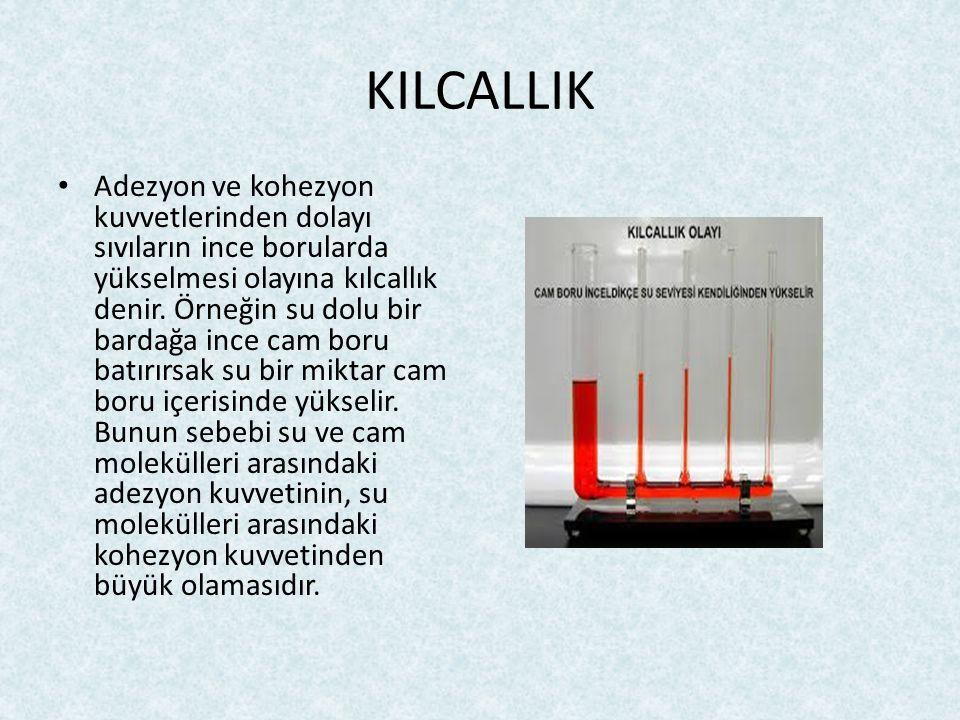 KILCALLIK Adezyon ve kohezyon kuvvetlerinden dolayı sıvıların ince borularda yükselmesi olayına kılcallık denir. Örneğin su dolu bir bardağa ince cam