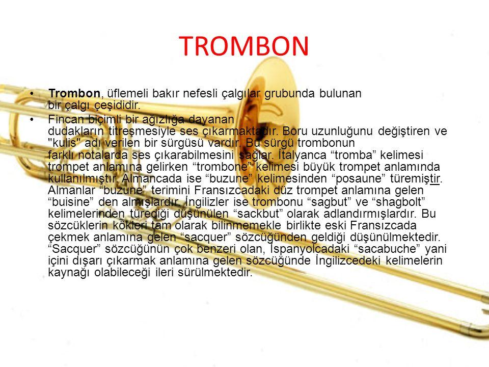 TROMBON Trombon, üflemeli bakır nefesli çalgılar grubunda bulunan bir çalgı çeşididir. Fincan biçimli bir ağızlığa dayanan dudakların titreşmesiyle se