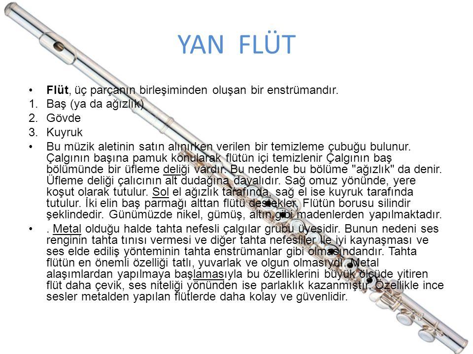YAN FLÜT Flüt, üç parçanın birleşiminden oluşan bir enstrümandır. 1.Baş (ya da ağızlık) 2.Gövde 3.Kuyruk Bu müzik aletinin satın alınırken verilen bir