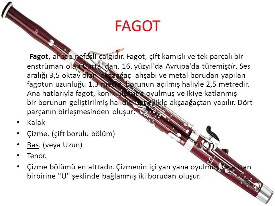 FAGOT Fagot, ahşap nefesli çalgıdır. Fagot, çift kamışlı ve tek parçalı bir enstrüman olan Curtal'dan, 16. yüzyıl'da Avrupa'da türemiştir. Ses aralığı