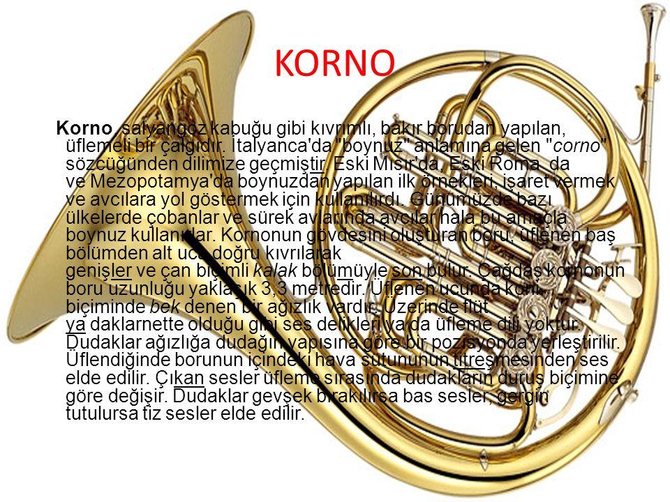 KORNO Korno, salyangoz kabuğu gibi kıvrımlı, bakır borudan yapılan, üflemeli bir çalgıdır. İtalyanca'da