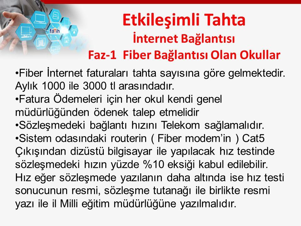 Etkileşimli Tahta İnternet Bağlantısı Faz-1 Fiber Bağlantısı Olan Okullar Fiber İnternet faturaları tahta sayısına göre gelmektedir.