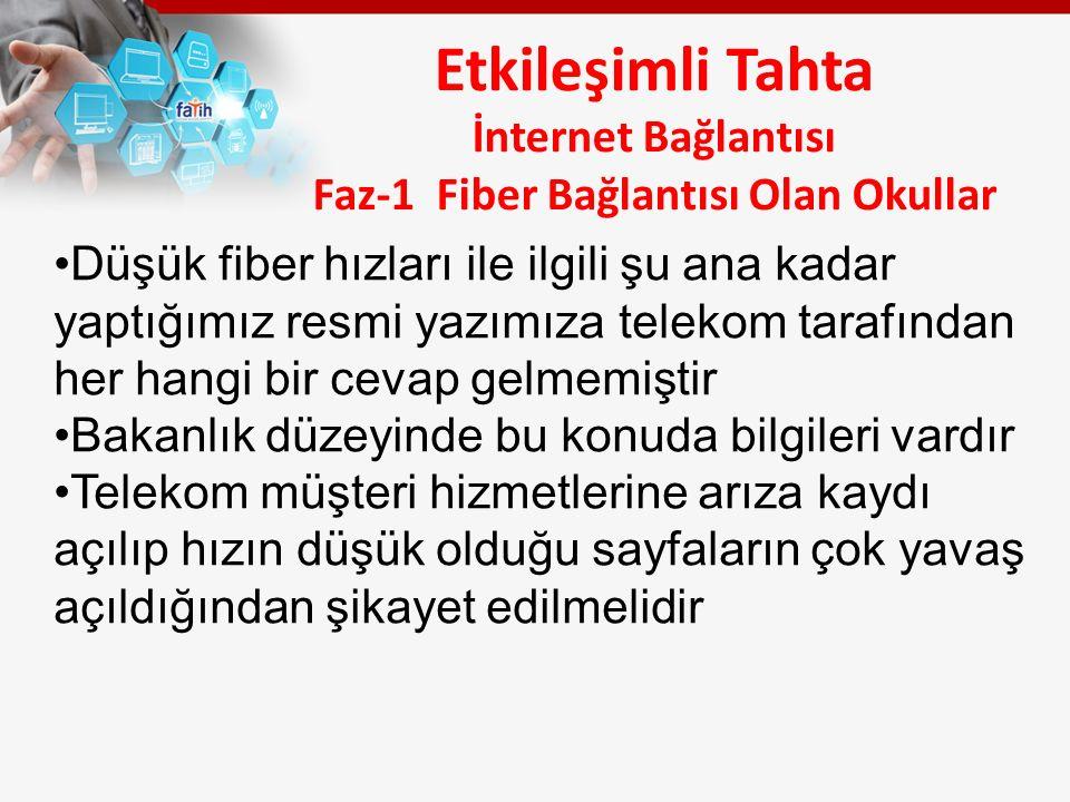 Etkileşimli Tahta İnternet Bağlantısı Faz-1 Fiber Bağlantısı Olan Okullar Düşük fiber hızları ile ilgili şu ana kadar yaptığımız resmi yazımıza telekom tarafından her hangi bir cevap gelmemiştir Bakanlık düzeyinde bu konuda bilgileri vardır Telekom müşteri hizmetlerine arıza kaydı açılıp hızın düşük olduğu sayfaların çok yavaş açıldığından şikayet edilmelidir