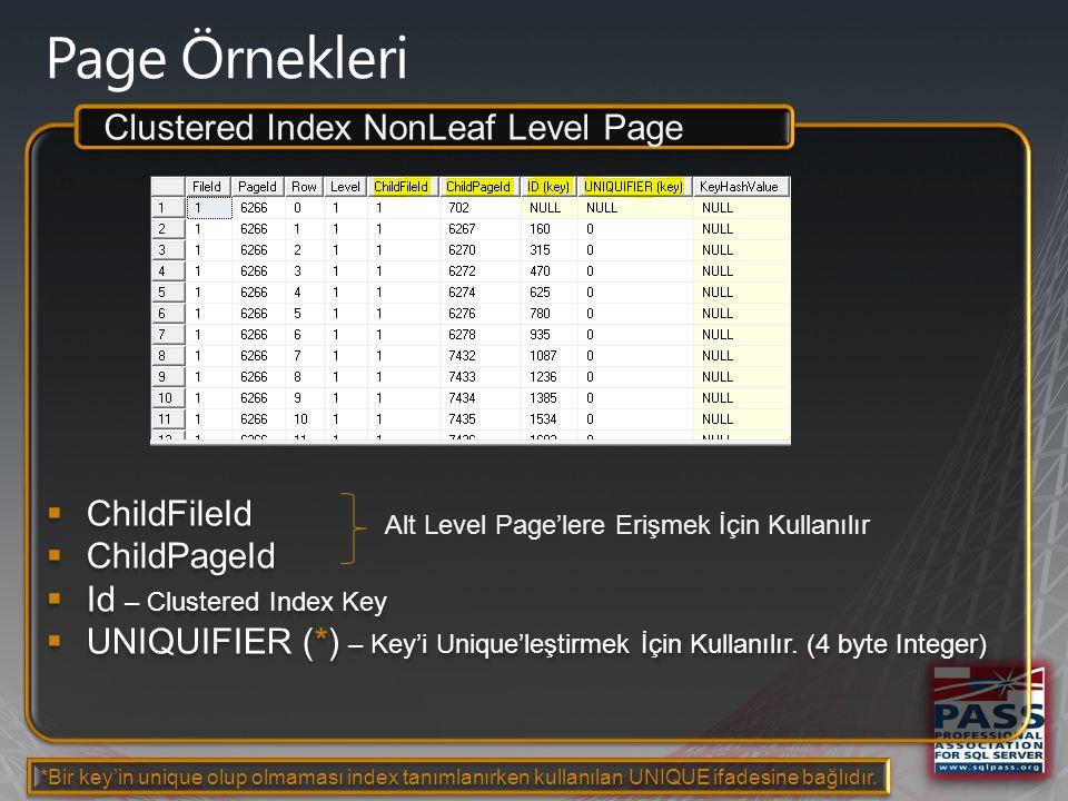  ChildFileId  ChildPageId  Ad – NonClustered Index Key  Id – Clustered Index Key  UNIQUIFIER – Key'i Unique'leştirmek İçin Kullanılır.
