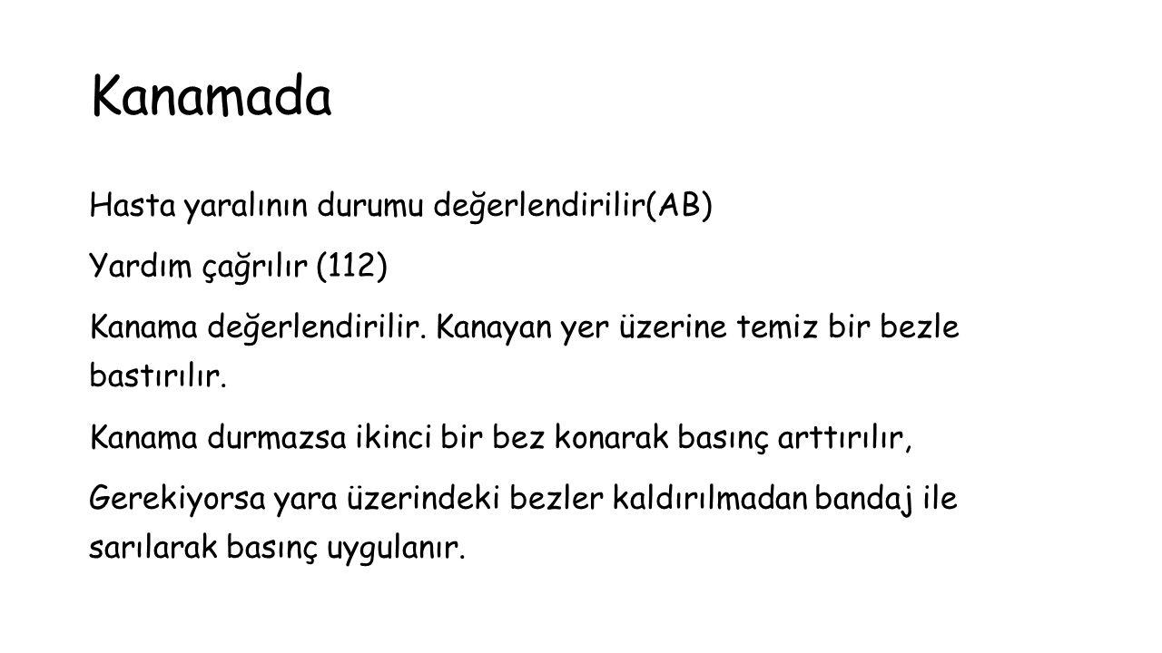 Kanamada Hasta yaralının durumu değerlendirilir(AB) Yardım çağrılır (112) Kanama değerlendirilir.