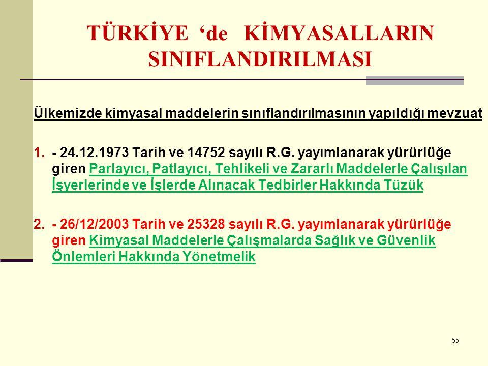 TÜRKİYE 'de KİMYASALLARIN SINIFLANDIRILMASI Ülkemizde kimyasal maddelerin sınıflandırılmasının yapıldığı mevzuat 1.- 24.12.1973 Tarih ve 14752 sayılı