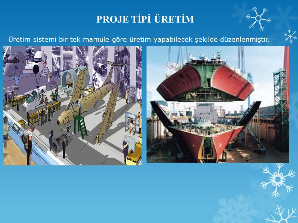PROJE TİPİ ÜRETİM Üretim sistemi bir tek mamule göre üretim yapabilecek şekilde düzenlenmiştir.