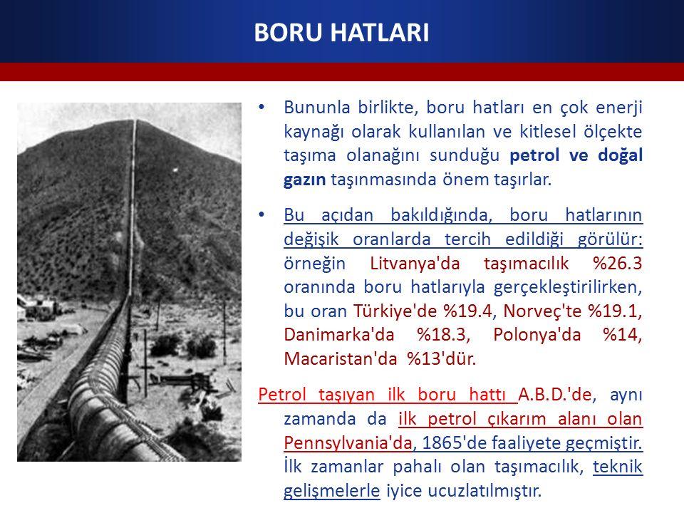 BORU HATLARI Bununla birlikte, boru hatları en çok enerji kaynağı olarak kullanılan ve kitlesel ölçekte taşıma olanağını sunduğu petrol ve doğal gazın taşınmasında önem taşırlar.