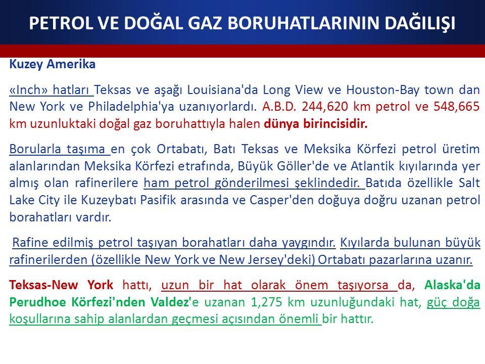 PETROL VE DOĞAL GAZ BORUHATLARININ DAĞILIŞI Kuzey Amerika «Inch» hatları Teksas ve aşağı Louisiana'da Long View ve Houston-Bay town dan New York ve Ph