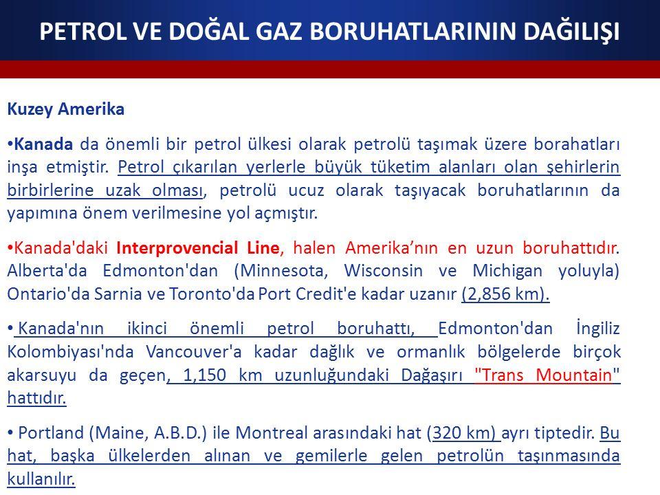 PETROL VE DOĞAL GAZ BORUHATLARININ DAĞILIŞI Kuzey Amerika Kanada da önemli bir petrol ülkesi olarak petrolü taşımak üzere borahatları inşa etmiştir.