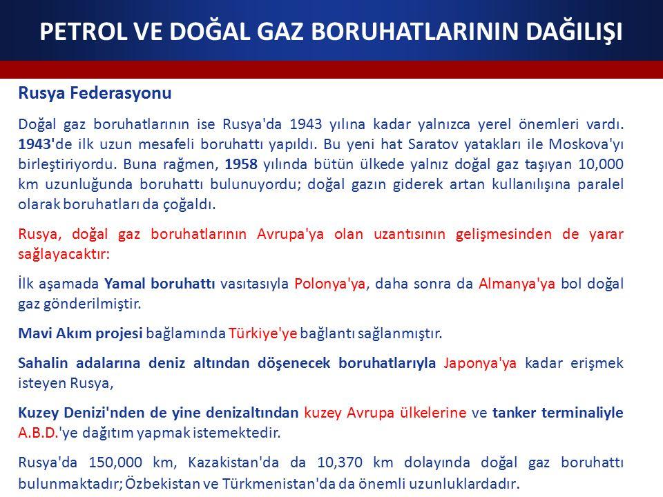 PETROL VE DOĞAL GAZ BORUHATLARININ DAĞILIŞI Rusya Federasyonu Doğal gaz boruhatlarının ise Rusya da 1943 yılına kadar yalnızca yerel önemleri vardı.